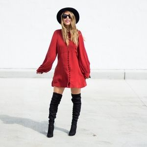 Free People Babetown mini dress keyhole collared